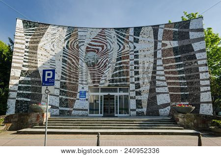 Kolobrzeg, West Pomeranian / Poland - 2018: Entrance To The Sanatorium Building Complex