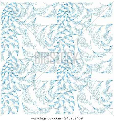 Hand Drawn Zentangle Style Shellfish Seamless Blue On White Pattern For Web, For Print Stock Vector