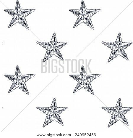 Hand Drawn Zentangle Starfish Seamless Monochrome Pattern For Web, For Print Stock Vector Illustrati