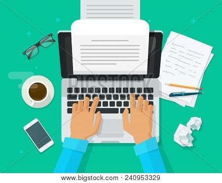 Writer Writing On Computer Paper Sheet Vector Illustration, Flat Cartoon Person Editor Write Electro