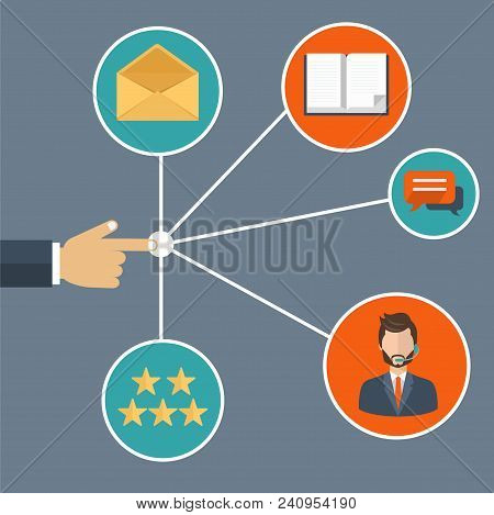 Male Hand Presenting Customer Relationship Management. System For Managing Interactions With Current