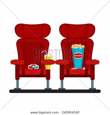 Auditorium And Two Red Comfortable Armchairs In The Cinema. Drinks And Popcorn, Glasses For Movie Fl