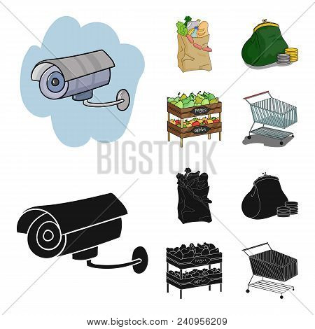 Sausages, Fruit, Cart .supermarket Set Collection Icons In Cartoon, Black Style Vector Symbol Stock