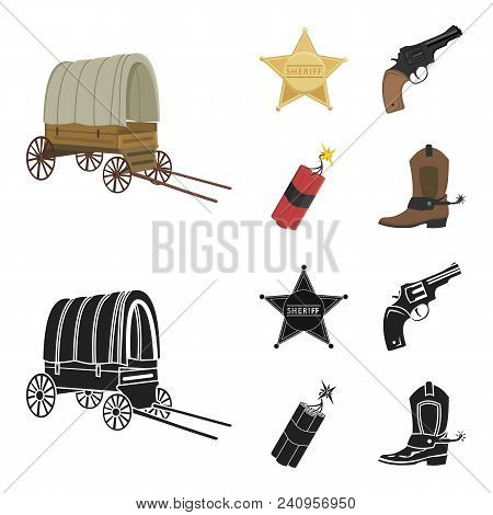 Star Sheriff, Colt, Dynamite, Cowboy Boot. Wild West Set Collection Icons In Cartoon, Black Style Ve
