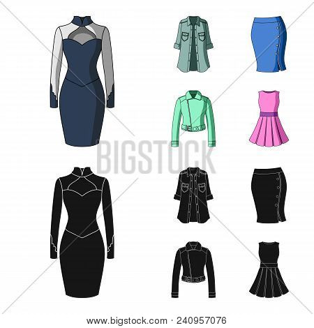 Women Clothing Cartoon, Black Icons In Set Collection For Design.clothing Varieties And Accessories
