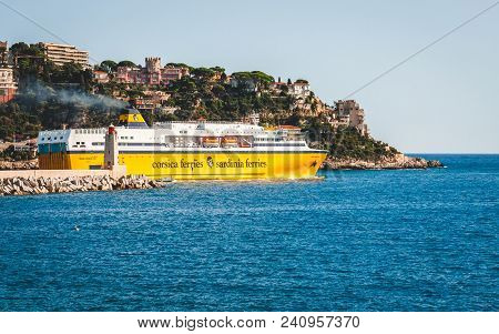 Nice, France - October 13, 2009: White And Yellow Corsica Ferries - Sardinia Ferries Passenger Ship