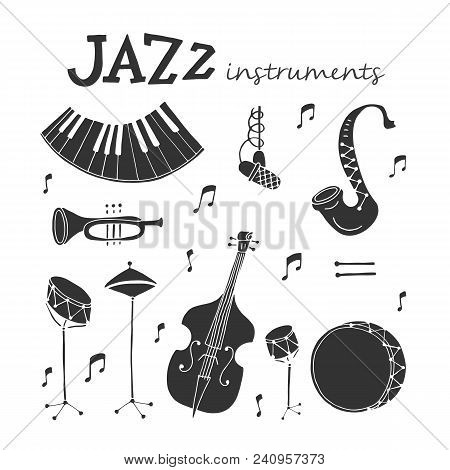 Vector Jazz Instruments Icons Isolated On White Background. Saxophone, Double Bass, Piano, Trumpet,
