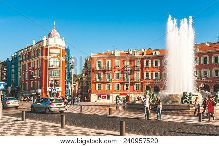 Nice, France - October 11, 2009: Sun Fountain Or Fontaine Du Soleil On Historic Square Place Massena