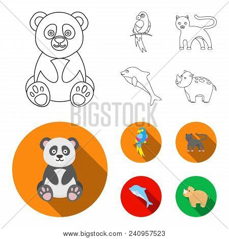 Panda.popugay, Panther, Dolphin.animal Set Collection Icons In Outline, Flat Style Vector Symbol Sto