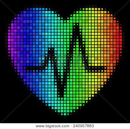 Dot Colorful Halftone Cardiology Icon In Rainbow Color Hues With Horizontal Gradient On A Black Back