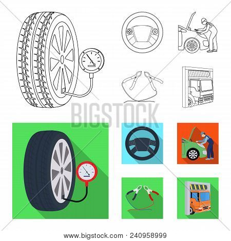 Engine Adjustment, Steering Wheel, Clamp And Wheel Outline, Flat Icons In Set Collection For Design.