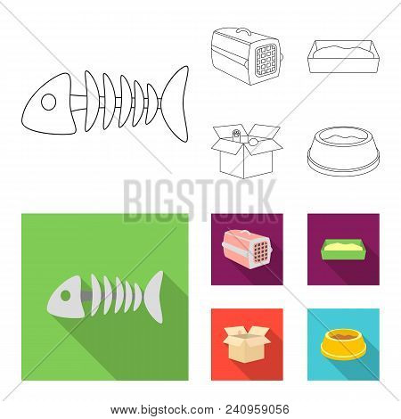 Fish Bone, Container For An Animal, Cat Toilet, Cat In A Box. Cat Set Collection Icons In Outline, F