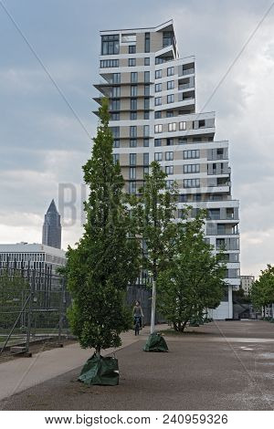 Frankfurt Am Main, Germany-may 11, 2018: Residential House In A New District Europaviertel, Frankfur