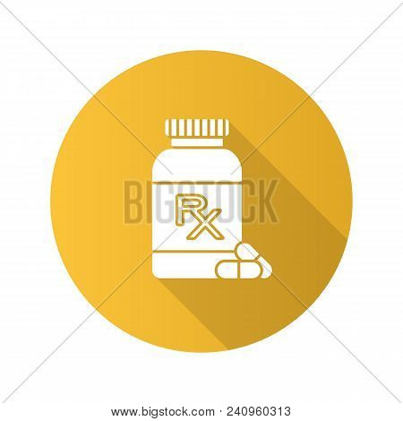 Rx Pill Bottle Flat Design Long Shadow Glyph Icon. Medical Prescription. Medications. Vector Silhoue