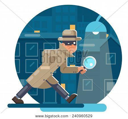 Spy Magnifying Glass Mask Detective Cartoon Character Walk Night Street City Background Flat Design