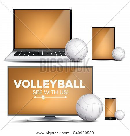 Volleyball Application Vector. Field, Volleyball Ball. Online Stream, Bookmaker, Sport Game App. Ban