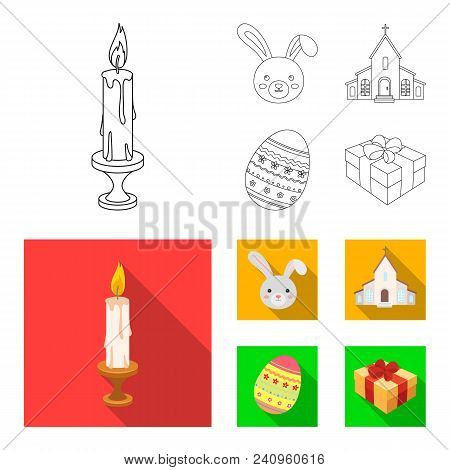 Church, Candle, Easter Bunny And Painted Egg.easter Set Collection Icons In Outline, Flat Style Vect