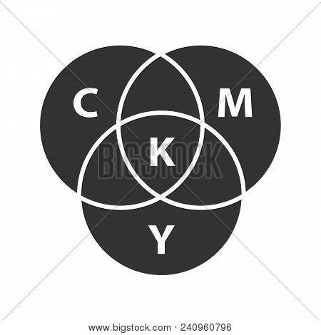 Cmyk Color Circle Model Glyph Icon. Silhouette Symbol. Cyan, Magenta, Yellow, Key Color Scheme. Nega