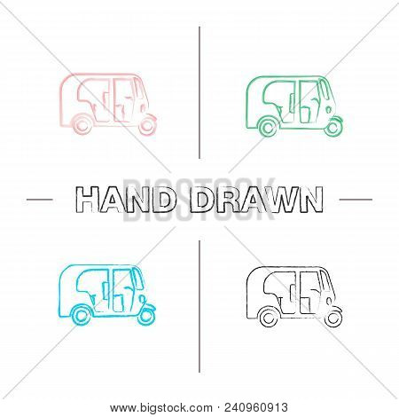 Auto Rickshaw Hand Drawn Icons Set. Color Brush Stroke. Tuk Tuk. Isolated Vector Sketchy Illustratio