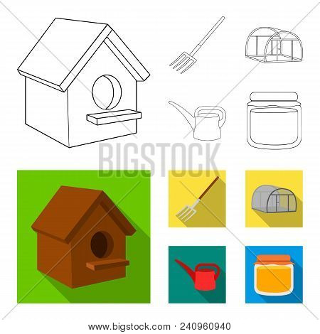Poultry House, Pitchfork, Greenhouse, Watering Can.farm Set Collection Icons In Outline, Flat Style