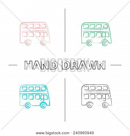 Double Decker Bus Hand Drawn Icons Set. Bus With Two Storeys. Color Brush Stroke. Isolated Vector Sk