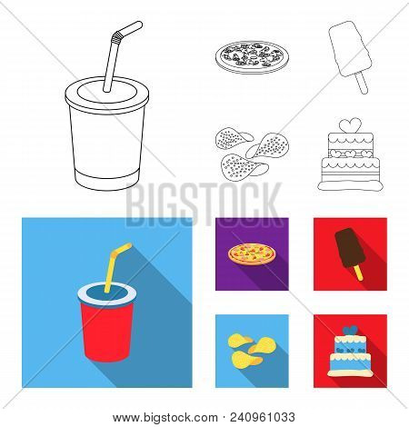 Cola, Pizza, Ice Cream, Chips.fast Food Set Collection Icons In Outline, Flat Style Vector Symbol St