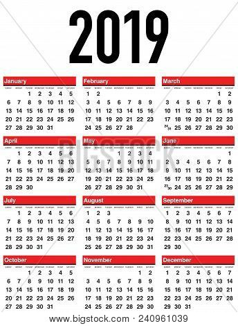 Vector Calendar 2019. Week Starts From Sunday. Simple Template Of Calendar On White Background.
