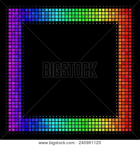Pixelated Impressive Halftone Contour Square Icon In Spectrum Color Tints With Horizontal Gradient O