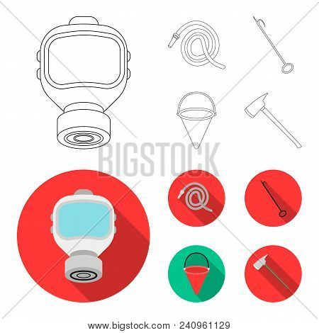 Gas Mask, Hose, Bucket, Bagore. Fire Department Set Collection Icons In Outline, Flat Style Vector S