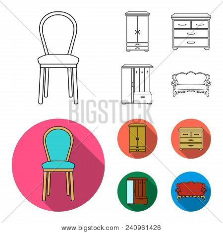 Armchair, Cabinet, Bedside, Table .furniture And Home Interiorset Collection Icons In Outline, Flat