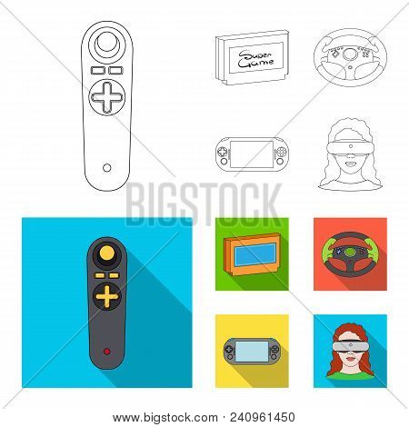 Game Console And Joystick Outline, Flat Icons In Set Collection For Design.game Gadgets Vector Symbo