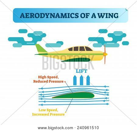 How The Wing Flies? Aerodynamics Of A Wing - Air Flow Diagram With Wind Flow Arrows And Wing Shape T