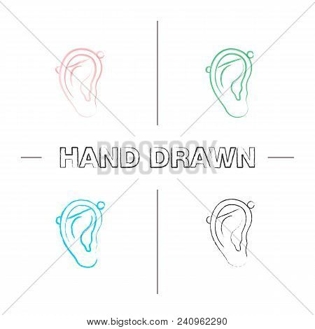 Industrial Piercing Hand Drawn Icons Set. Color Brush Stroke. Pierced Ear Cartilage. Isolated Vector