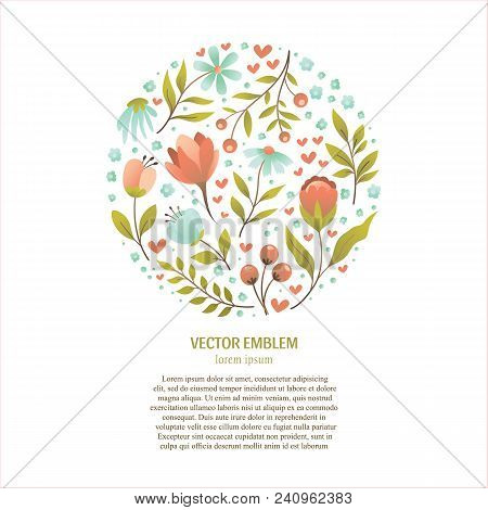 Vector Flower Collection Of Unique Floral Logo. Branding Identity Set For Flower Shop, Bridal Boutiq