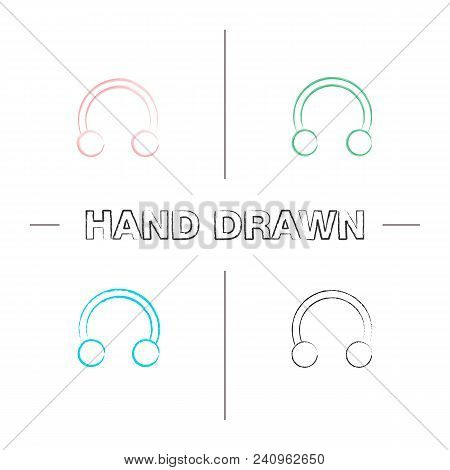 Half Hoop Earring Hand Drawn Icons Set. Color Brush Stroke. Horseshoe Piercing Jewelry. Isolated Vec