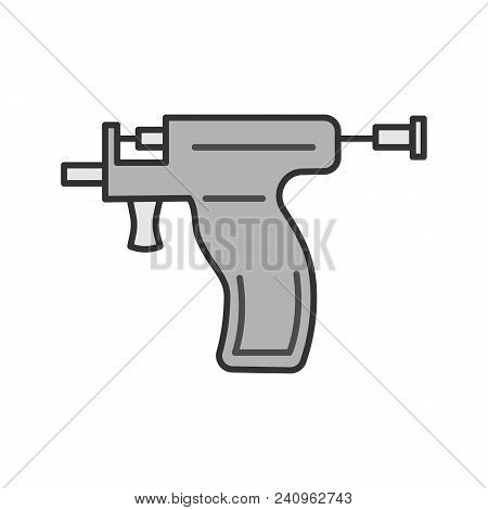 Piercing Gun Color Icon. Ear Piercing Instrument. Isolated Vector Illustration