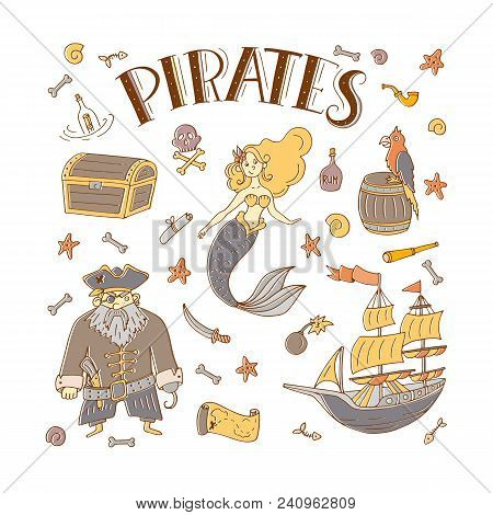 Vector Pirates Set In Freehand Style. Symbols Of Pirates - Hat, Sword, Guns, Treasure Chest, Ship, F