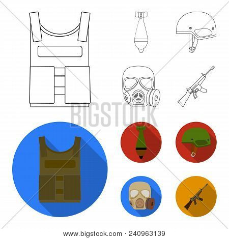 Bullet-proof Vest, Mine, Helmet, Gas Mask. Military And Army Set Collection Icons In Outline, Flat S