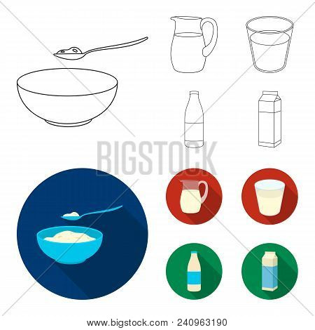 Bowl Of Cottage Cheese, A Glass, A Bottle Of Kefir, A Jug. Moloko Set Collection Icons In Outline, F