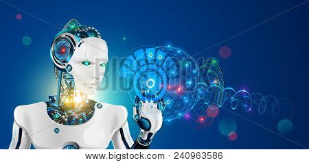 Robot With Artificial Intelligence. Wise Cyborg With Higher Or Supreme Mind Working On Abstract Hud