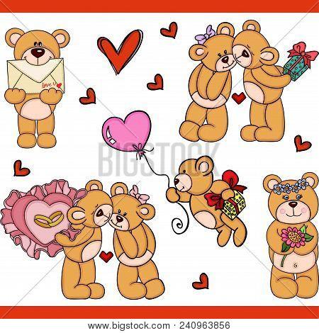 Love For Teddy Bear Set Digital Elements