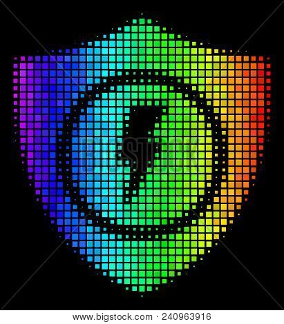 Dot Impressive Halftone Electric Guard Icon Drawn With Spectral Color Hues With Horizontal Gradient