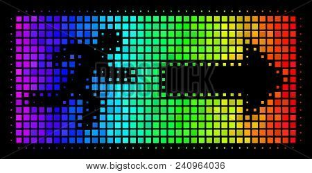 Dotted Bright Halftone Emergency Exit Icon In Spectral Color Tones With Horizontal Gradient On A Bla
