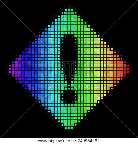 Pixel Colorful Halftone Error Icon Drawn With Spectrum Color Tones With Horizontal Gradient On A Bla