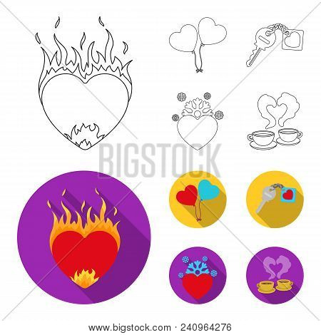 Hot Heart, Balloons, A Key With A Charm, A Cold Heart. Romantic Set Collection Icons In Outline, Fla