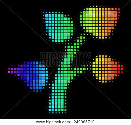 Pixel Bright Halftone Flora Plant Icon Using Rainbow Color Tints With Horizontal Gradient On A Black