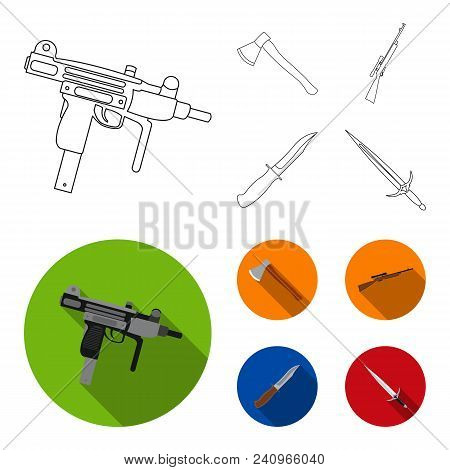 Ax, Automatic, Sniper Rifle, Combat Knife. Weapons Set Collection Icons In Outline, Flat Style Vecto