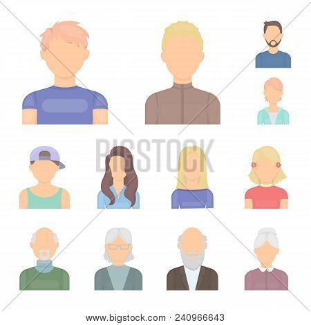 Avatar And Face Cartoon Icons In Set Collection For Design. A Person Appearance Vector Symbol Stock