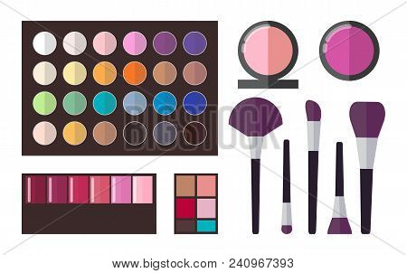 Eyeshadows Collection, Poster With Palette Of Colors And Tons, Set Of Brushes And Powders, Cosmetics