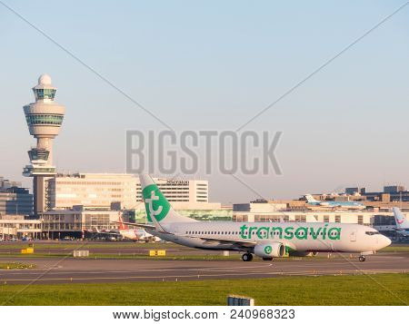 Schiphol Airport, The Netherlands - May 2 2018: Transavia Aircraft At Schiphol Airport The Netherlan